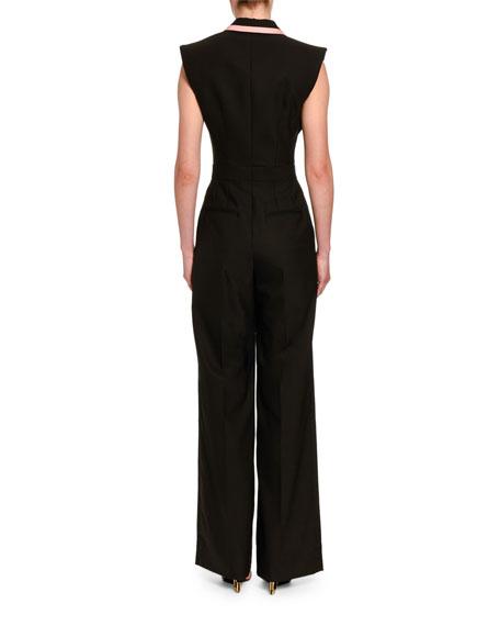 Sleeveless Stretch-Wool Tuxedo Jumpsuit