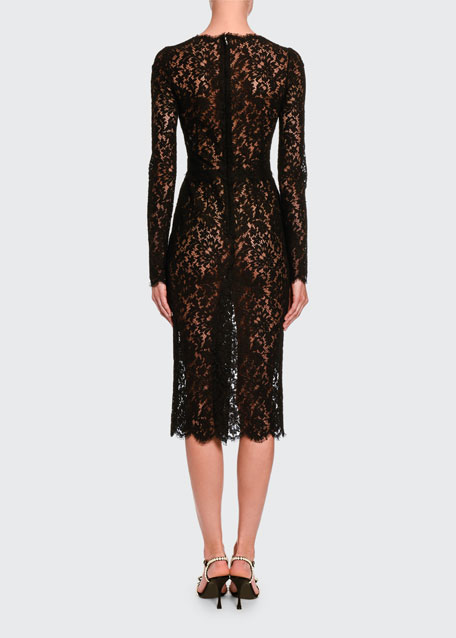 Classic Sheer Lace Long-Sleeve Midi Dress
