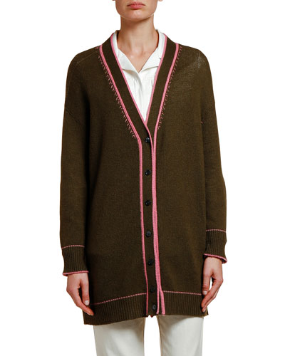 Cashmere Contrast-Piped Cardigan