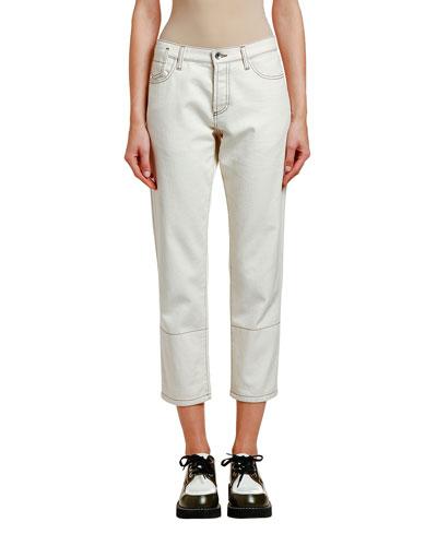 Stitched-Denim Crop Jean Trousers