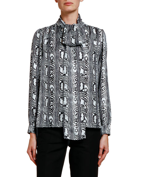 Image 1 of 1: Moire Silk Bow-Neck Blouse