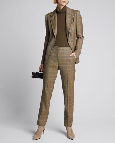 Simone Plaid Wool Crop Pants