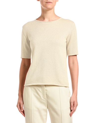 Cashmere Shimmered Short-Sleeve Sweater