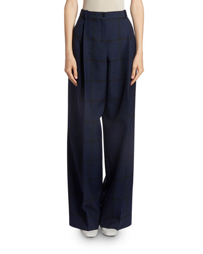 Checkered Wide-Leg Trousers