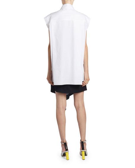 Poplin Tie-Waist Sleeveless Shirt