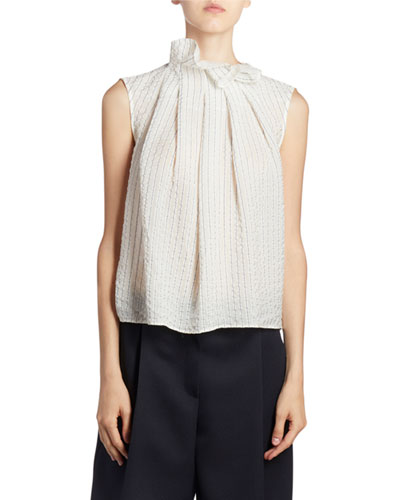 Ruffled High-Neck Pleated Front Top