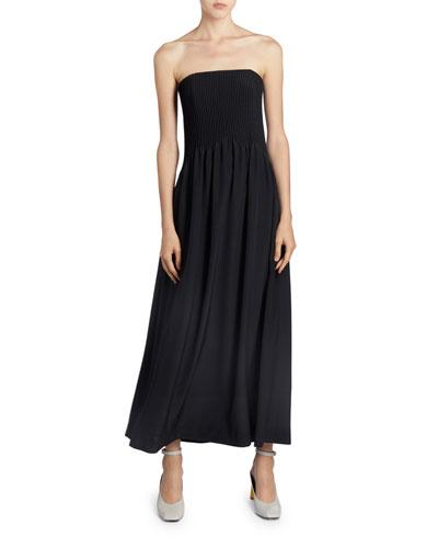 Strapless Corseted Midi Dress