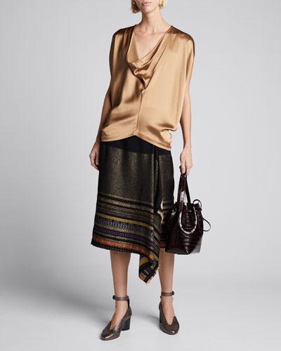 Miro Basket-Weave Wrap Skirt