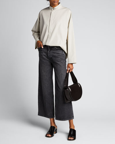 Poplin Stand-Collar A-Line Shirt
