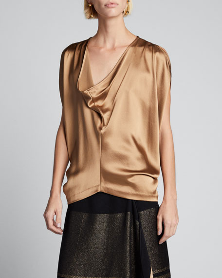 Venus Cowl-Neck Cold-Shoulder Satin-Crepe Top