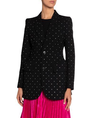 Crystal-Dotted Wool Gabardine Jacket