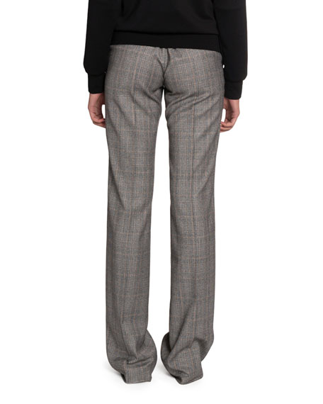 Checked Wool High-Rise Pants