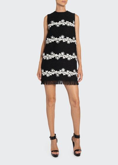 Floral-Striped Tweed Shift Dress