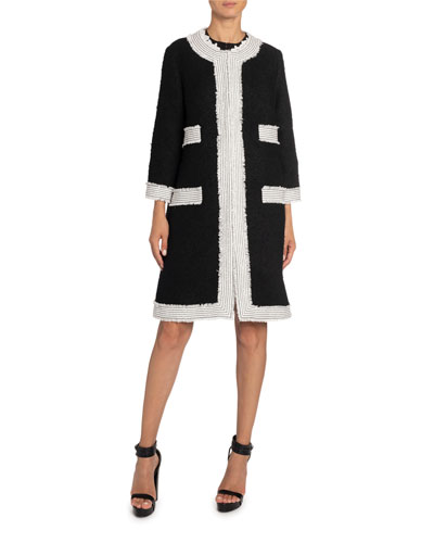 Tweed Coat with Contrast Topstitching
