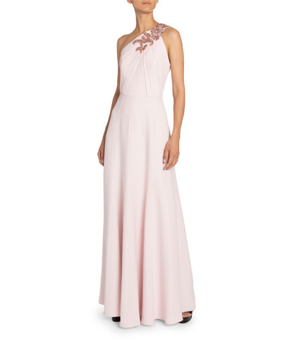 Jeweled One-Shoulder Ruched Jersey Gown