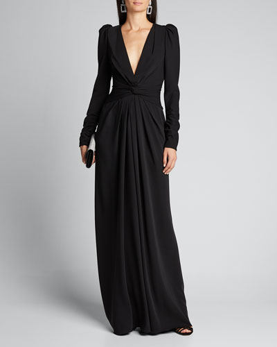Twisted Puff-Sleeve Gown