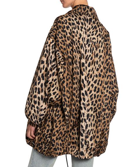 Leopard-Print Oversized Wind-Resistant Jacket