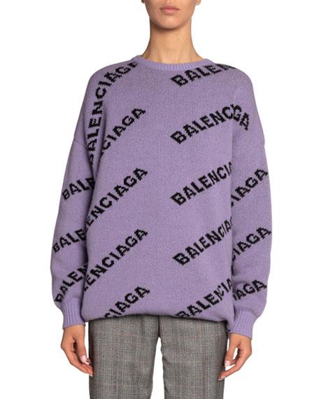 Logo-Jacquard Wool Sweater