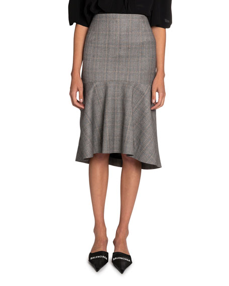 Image 1 of 1: Multi-Checked High-Rise Skirt