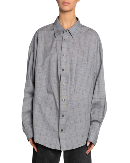 Windowpane Cotton Button-Front Top