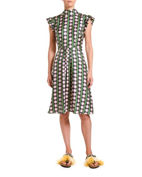 Bon Ton Striped Silk Flutter-Sleeve Dress