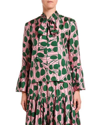 Leaf-Print Silk Taffeta Blouse