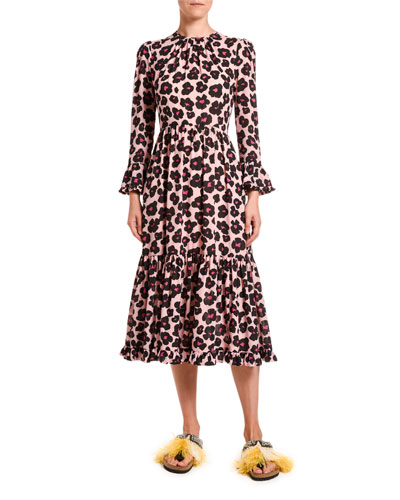 Visconti Animal-Print Crepe Midi Dress