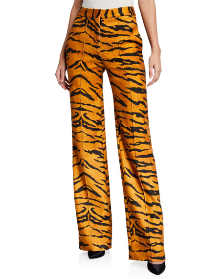 Tiger-Print Jersey Relaxed Wide-Leg Trousers