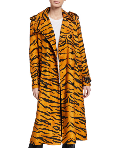 Image 1 of 1: Tiger-Print Trench Coat