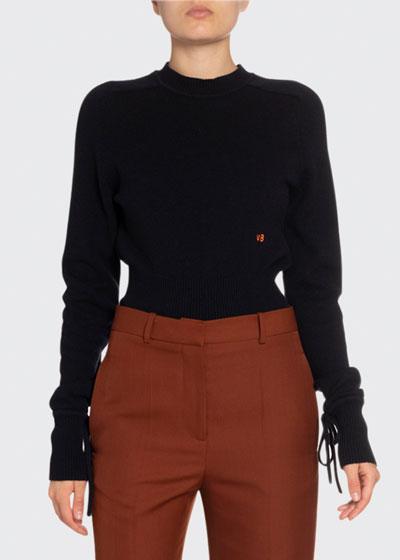 Cashmere Tie-Cuff Sweater