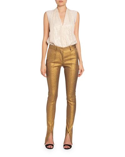 Metallic Slit-Cuff Tuxedo Trousers