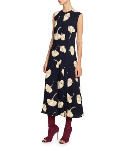 Silk Paneled Midi Dress
