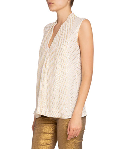 Metallic-Flecked Silk Flared Tank Top
