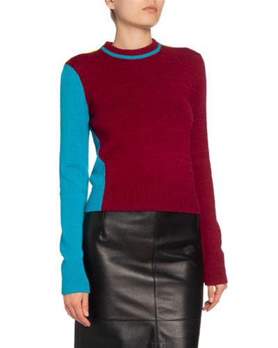 Colorblock Wool-Blend Crewneck Sweater