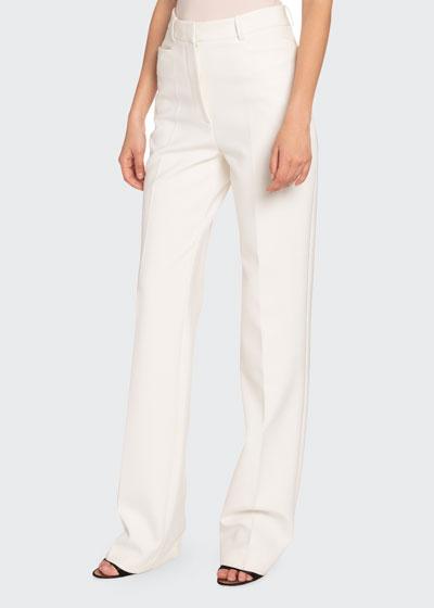 Double Crepe Straight-Leg Pants