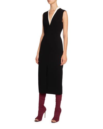 Tux-Front V-Neck Dress