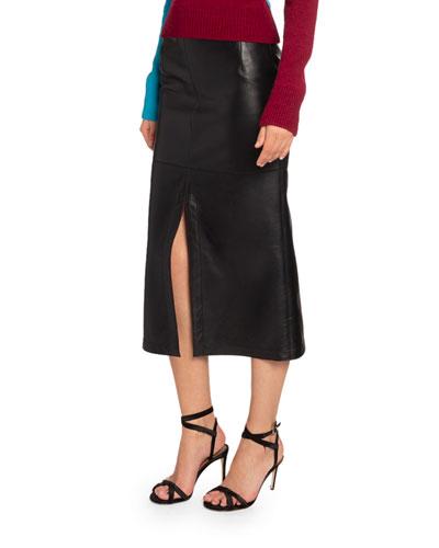 Napa Leather Midi Skirt