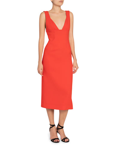 Crepe V-Neck Body-Con Dress
