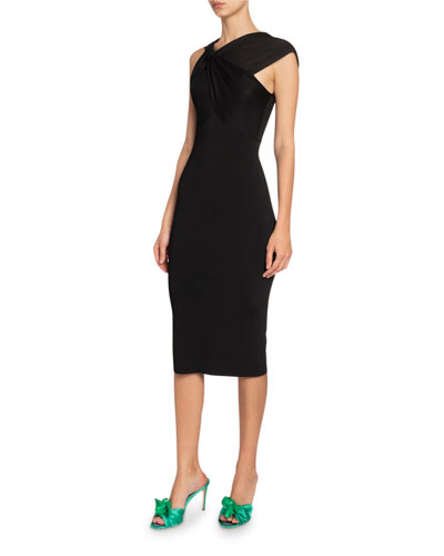Asymmetric Twisted-Neck Dress