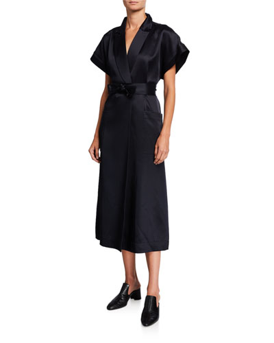 Fuji Satin Belted Wrap Dress