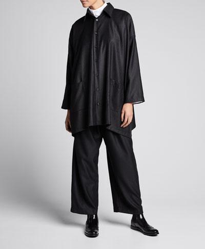 Wool-Silk Wide A-Line Jacket  Black