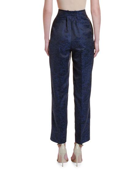 Printed Silk Jacquard High-Rise Trousers