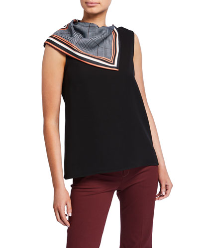 Patchwork Scarf-Neck Top