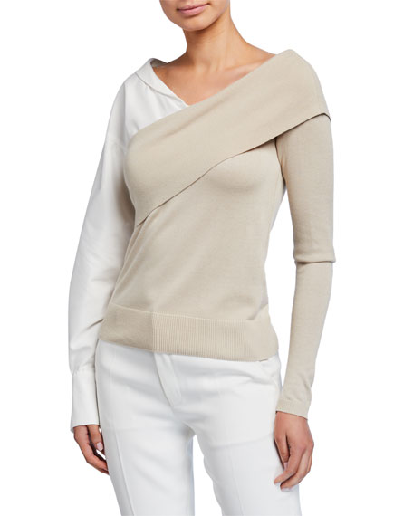 Image 1 of 1: Two-Way Knit Poplin-Sleeve Sweater