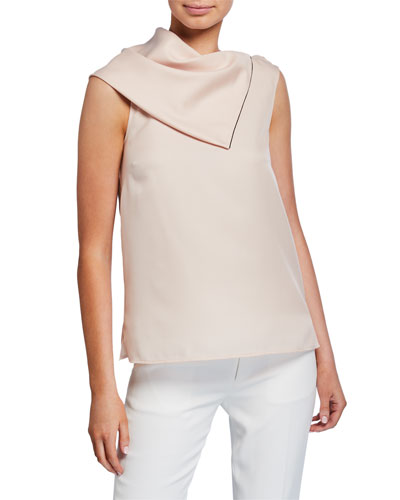 Satin Scarf-Neck Sleeveless Top