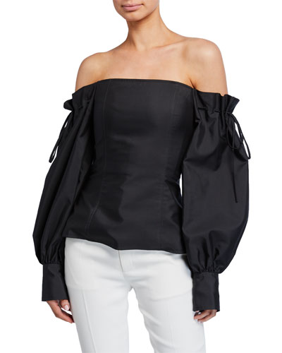 Off-the-Shoulder Drawstring Top