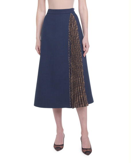 Fleece Wool Midi Skirt with Pleated Side Inset