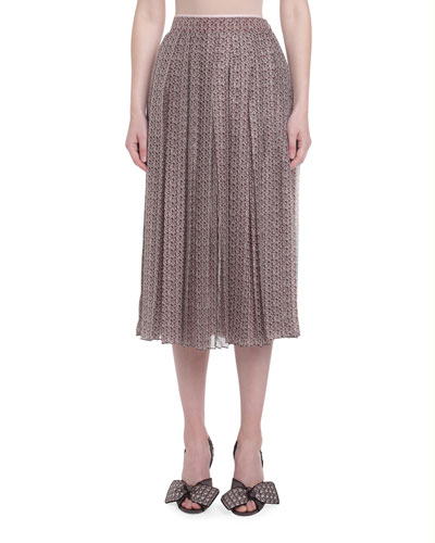 Printed Silk Pleated Skirt