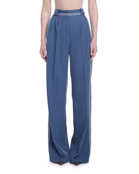 High-Rise Pleated Front Pants