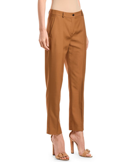 Wool Straight-Leg Crop Pants